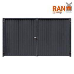 RANeX_металлопрофильный модульный забор_7024_новый забор из профлиста_ворота распашные